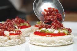 minipizzas de salchichón